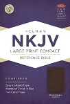 NKJV Large Print Personal Size Reference Bible-Brown Genuine Leather