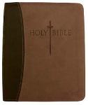 KJVer Bible Thinline/Large Print Dark Brown/Light Brown Leathersoft