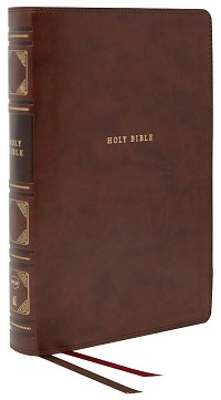 NKJV Center-Column Reference Bible (Comfort Print)-Brown Leather